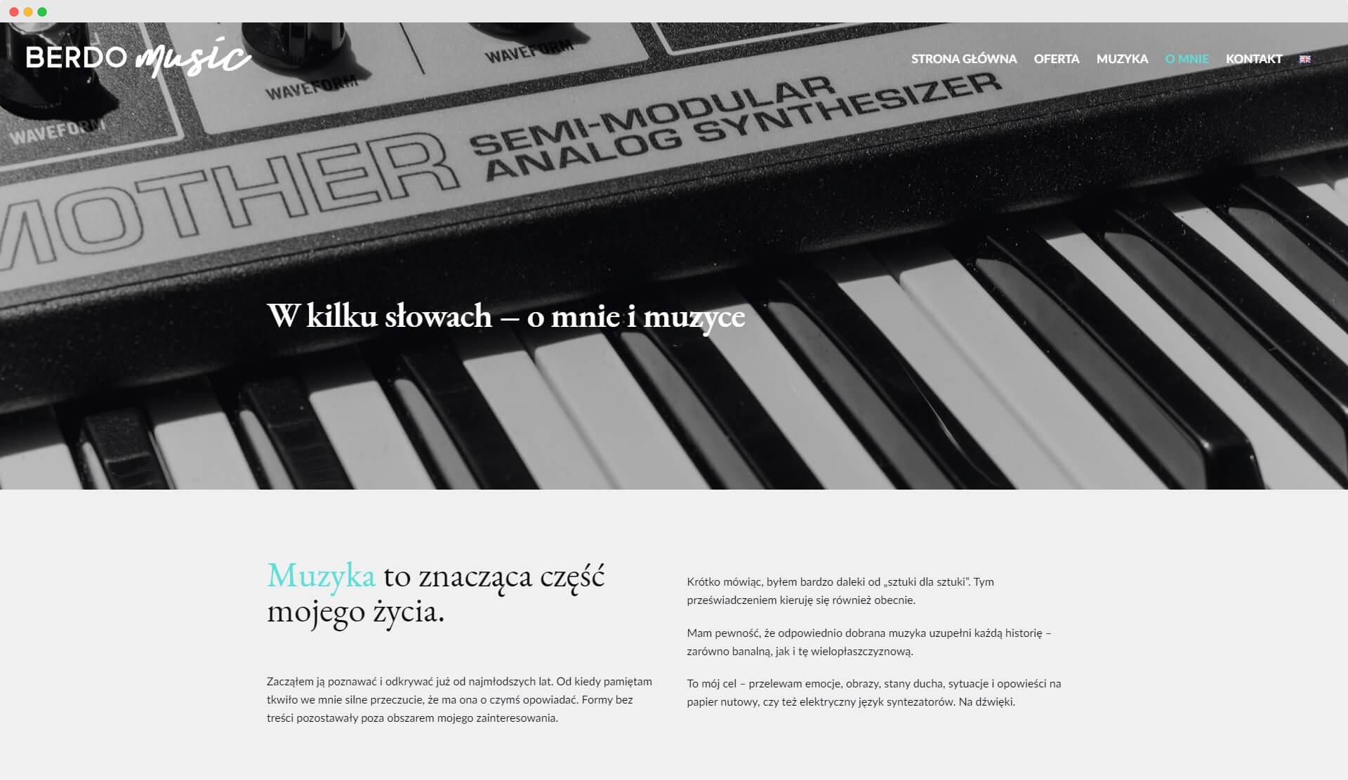 Berdo Music - realizacja widok na komputerze