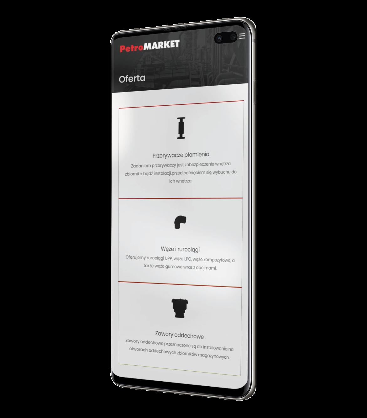 Petromarket - realizacja widok na smartfonie
