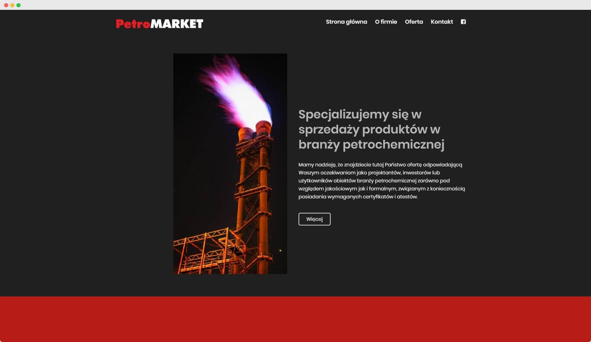 Petromarket - realizacja widok na komputerze